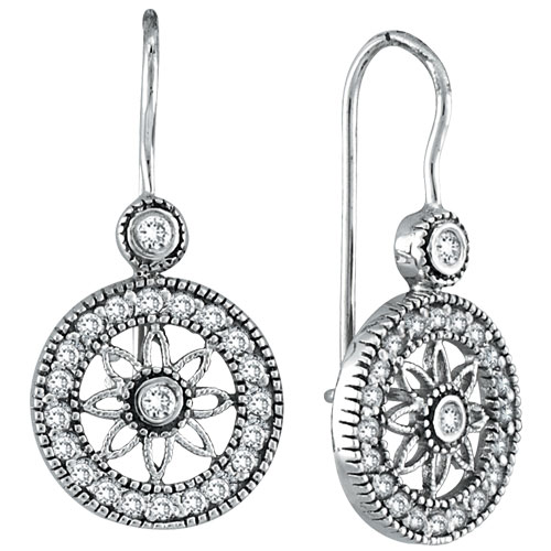 14K White Gold .50ct Diamond Flower in Circle Dangle Earrings. Price: $816.00