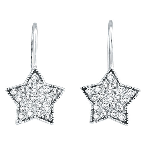 14K  White Gold .50ct Diamond Star Dangle Earrings. Price: $796.80