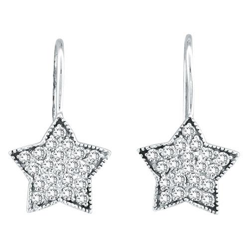 14K  White Gold .50ct Diamond Star Dangle Earrings. Price: $796.80