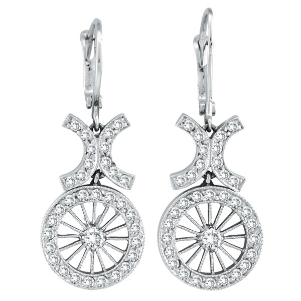 14K White Gold Antique-Style .69ct Diamond Leverback Earrings. Price: $1234.56