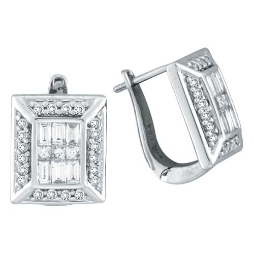 14K White Gold Baguette .90ct Diamond French-Style Hoop Earrings. Price: $2039.04