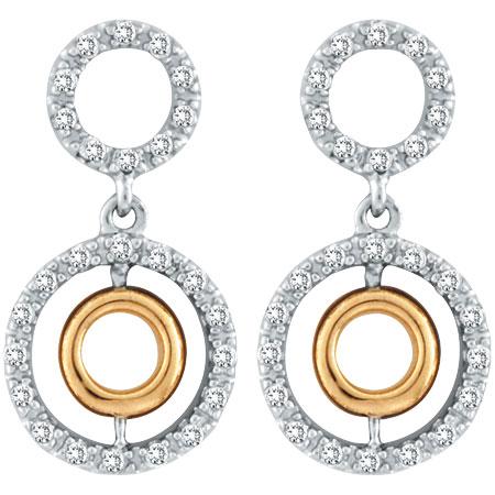 14K Two-Tone Gold .45ct Diamond Triple Cicular Post Earrings. Price: $792.00