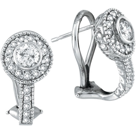 14K White Gold 1.05ct Bezel-Set Diamond French-Style Post Earrings. Price: $3429.12