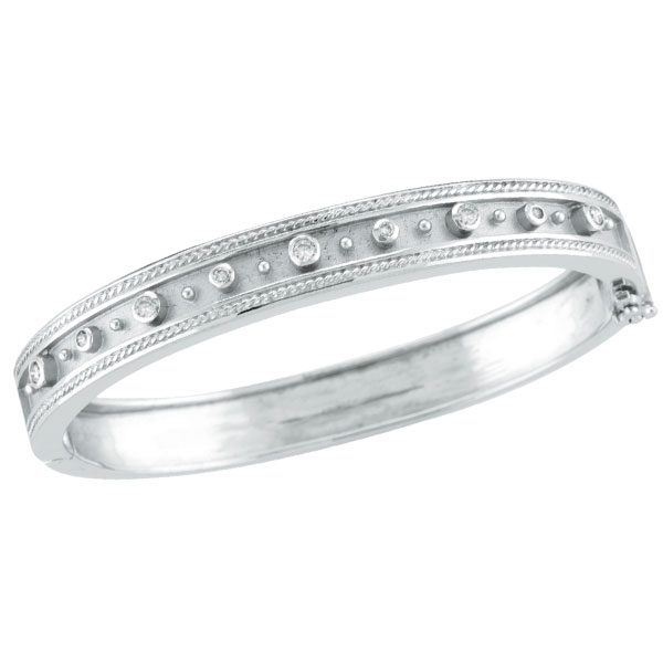 14K White Gold Antique Style Diamond Bangle Bracelet. Price: $2801.28