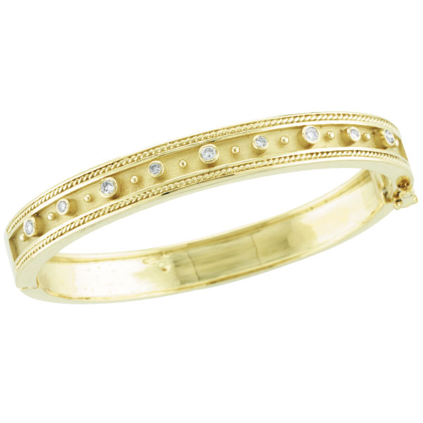 18K Yellow Gold Antique Style Diamond Bangle Bracelet. Price: $4059.84