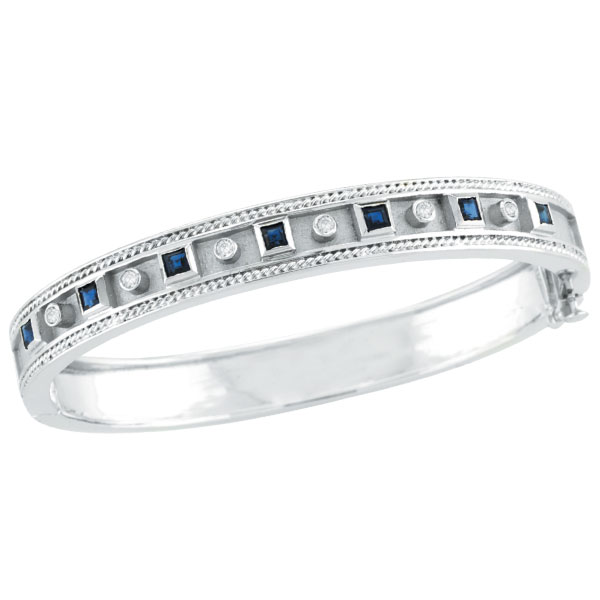 14K White Gold Antique Style Diamond & Sapphire Bangle Bracelet. Price: $2962.56