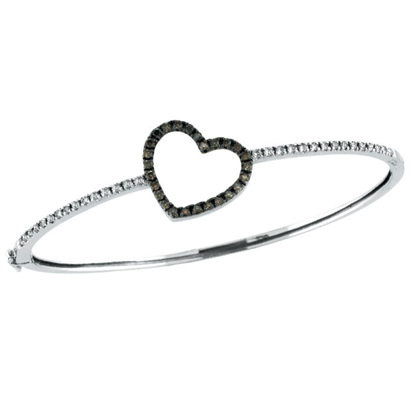 14K Champagne Diamond Heart Bangle Bracelet. Price: $1553.28