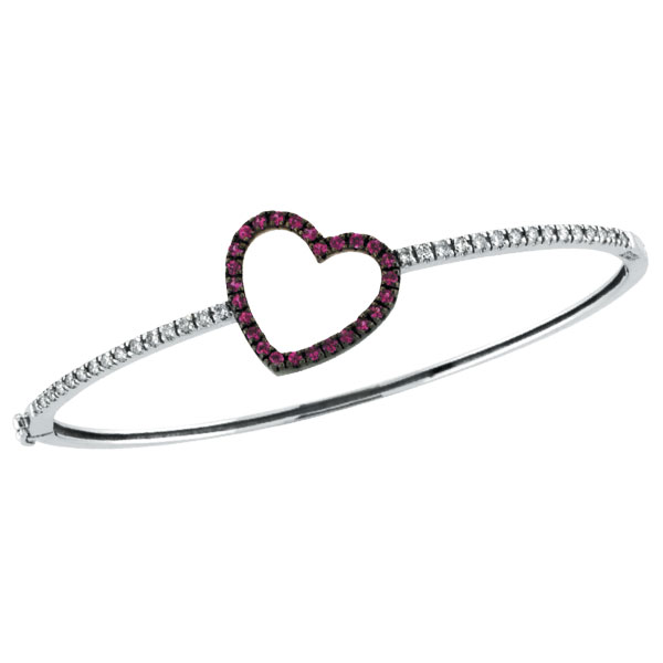 14K White Gold Genuine Precious Pink Sapphire & Diamond Heart Bangle Bracelet. Price: $1303.68