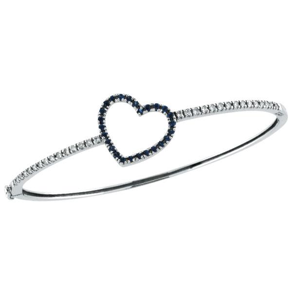 14K White Gold Genuine Precious Sapphire & Diamond Heart Bangle Bracelet. Price: $1303.68