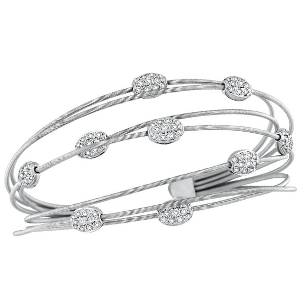 14K White Gold Diamond Brads Cuff Bracelet. Price: $3959.04