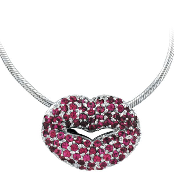18K White Gold Pink Sapphire Lips Pendant on Snake Chain Necklace. Price: $1763.52
