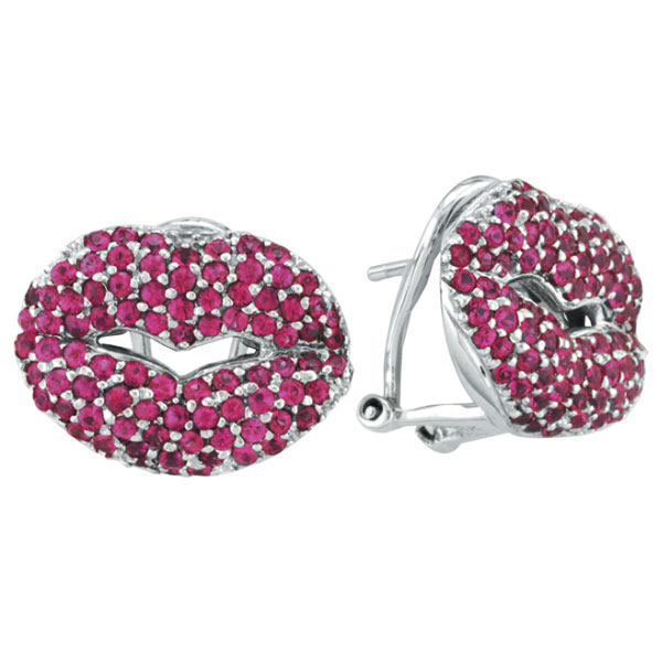 18K White Gold 2.72ct Genuine Precious Pink Sapphire Lips French-Style Post Earrings. Price: $2464.32