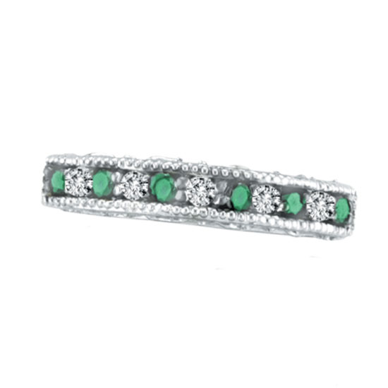 14K White Gold Emerald And Diamond Stackable Ring. Price: $432.00