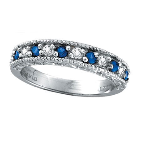 14K White Gold .23ct Diamond and Sapphire Ring Band. Price: $754.56