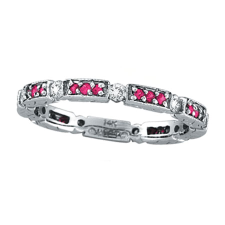 14K White Gold .28ct Diamond And Pink Sapphire Eternity Band Stackable Ring. Price: $927.36