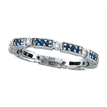14K White Gold .28ct Diamond And Blue Sapphire Eternity Band. Price: $927.36