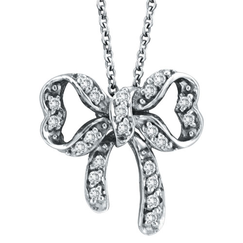 14K White Gold .26ct Diamond Bow Pendant On Link Chain Necklace. Price: $631.68