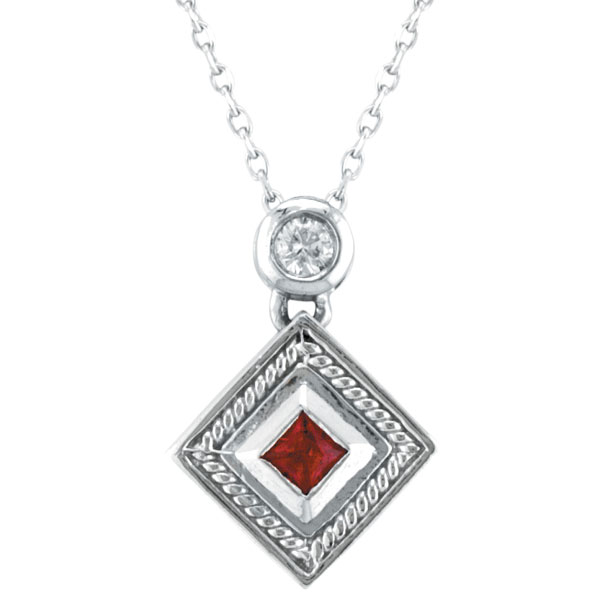 14K White Gold .19ct Ruby & .08ct Diamond Antique Style Pendant Necklace. Price: $624.00