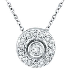 14K White Gold .25ct Diamond Circular Pendant Necklace. Price: $533.76