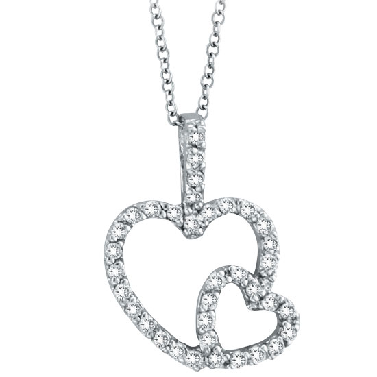14K White Gold .40ct Diamond Double Heart Pendant Necklace. Price: $552.00