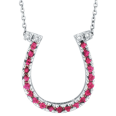 14K White Gold .21ct Pink Sapphire & .04ct Diamond Horseshoe Pendant Necklace. Price: $343.68