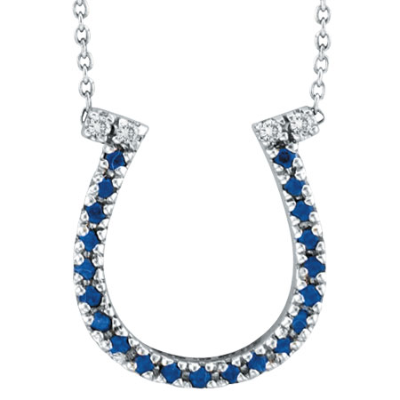 14K White Gold .19ct Sapphire Horseshoe & .04ct Diamond Pendant Necklace. Price: $343.68