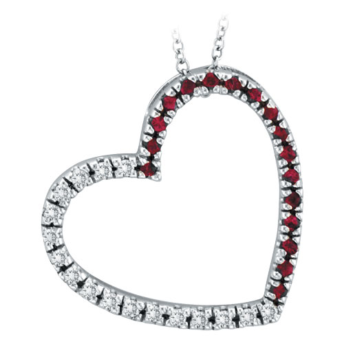 14K White Gold .20ct Diamond & .20ct Pink Sapphire Slanted Heart Pendant Necklace. Price: $537.60