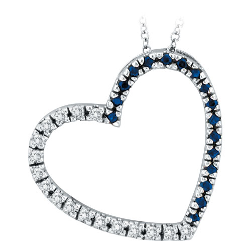 14K White Gold .20ct Diamond & .20ct Sapphire Slanted Heart Pendant Necklace. Price: $537.60