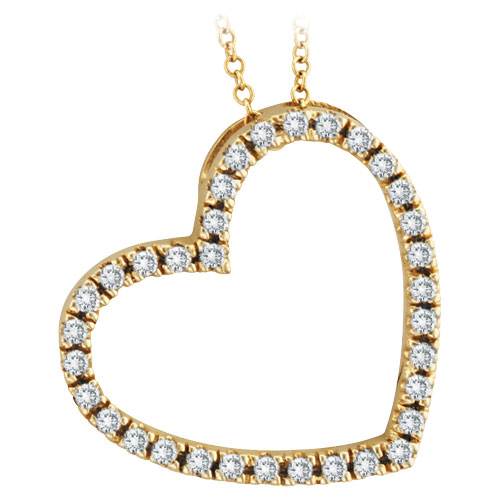 14K Yellow Gold .40ct Diamond Slanted Heart Pendant Necklace. Price: $624.00