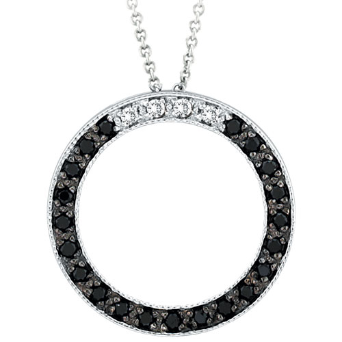 14K White Gold .25ct Black Diamond Circle Pendant On Cable Chain Necklace. Price: $546.24