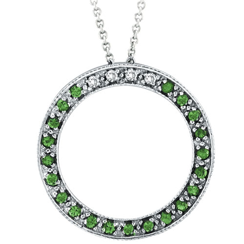 14K White Gold .04ct Diamond & .21ct Tsavorite Circle Pendant On Cable Chain Necklace. Price: $431.60