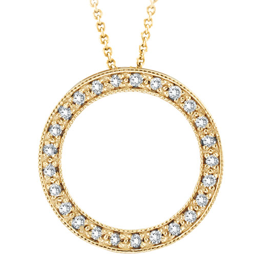 14K Gold .25ct Diamond Circle Necklace Pendant On Cable Chain Necklace. Price: $546.24