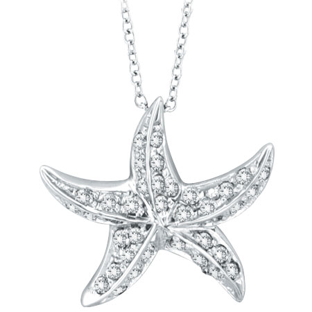 14K White Gold .50ct Diamond Starfish Pendant On Cable Chain Necklace. Price: $717.12