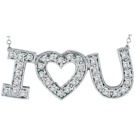 "14K White Gold .30ct Diamond ""I Love You"" Pendant Necklace. Price: $698.88"