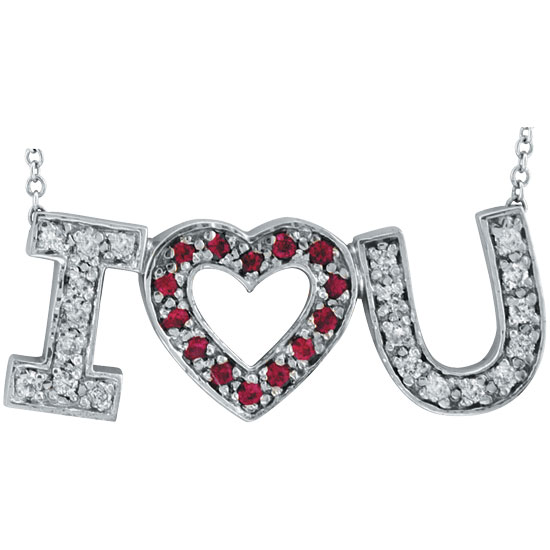 "14K White Gold .30ct Diamond & .20ct Pink Sapphire ""I Love You"" Pendant Necklace. Price: $632.64"