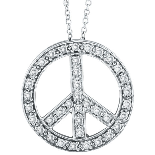 14K White Gold .50ct Diamond Peace Sign Pendant On Cable Chain Necklace. Price: $680.00