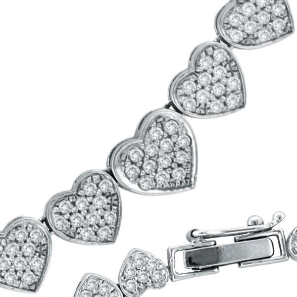 14 K White Gold Diamond Heart Eternity Necklace. Price: $7200.00