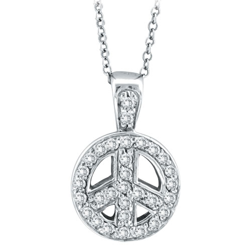 14K White Gold .26ct Diamond Peace Sign Pendant On Cable Chain Necklace. Price: $537.60