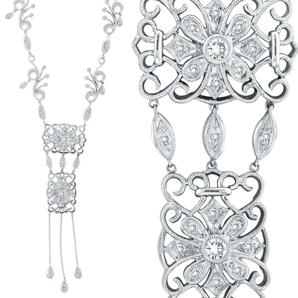 14K White Gold Diamond Fancy Filigree Necklace. Price: $3456.00