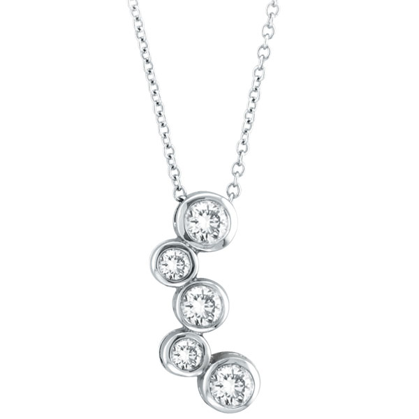 14K White Gold .51ct Diamond Graduated 5-Stone Bezel Pendant On Cable Chain Necklace. Price: $1056.00