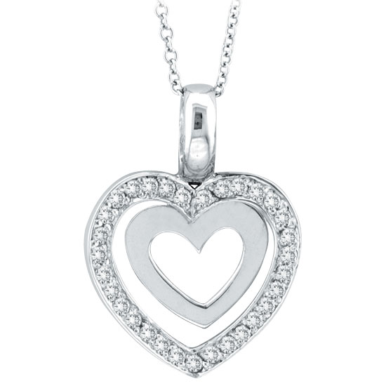 14K White Gold .28ct Diamond Double Heart Pendant On Cable Chain Necklace. Price: $543.36