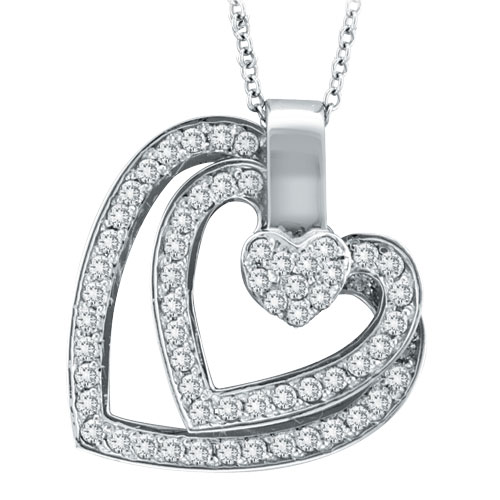 14K White Gold .59ct Diamond Triple Slanted Heart Heart Pendant On Cable Chain Necklace. Price: $1149.12