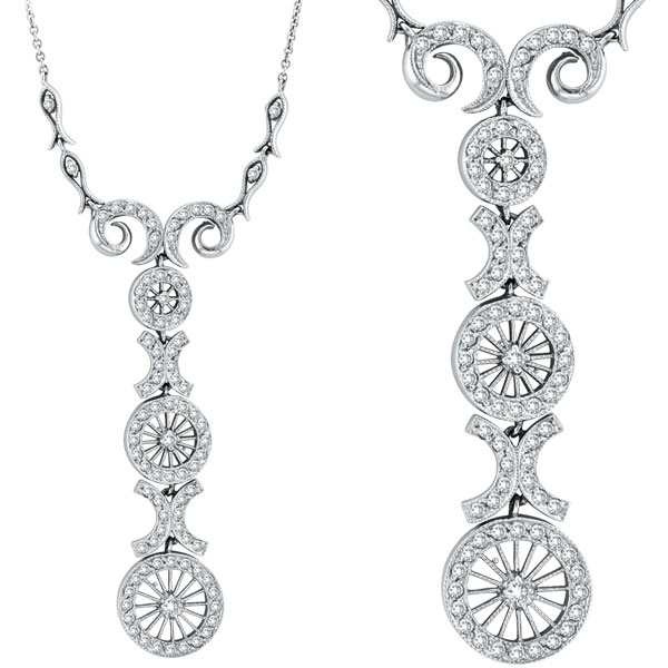 14K White Gold Antique Style .86ct Diamond Pendant Necklace. Price: $1784.64