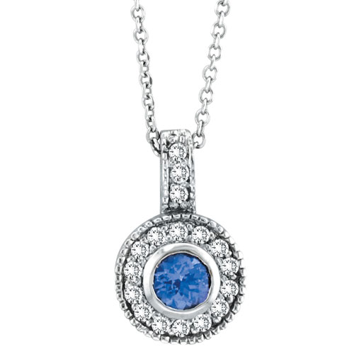 14K White Gold .45ct Tanzanite & .22ct Diamond Pendant On Cable Chain Necklace. Price: $958.08