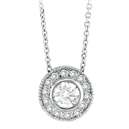 14K White Gold 1.19ct Diamond Designer Circular Pendant On Cable Chain Neckalce. Price: $3408.00