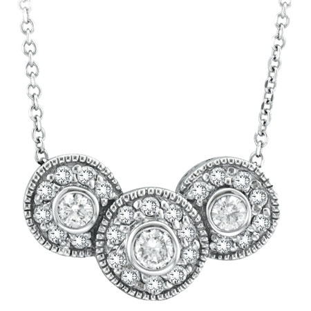 14K White Gold Bezel Set Diamond Three Disks Chain Necklace. Price: $1234.56