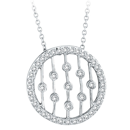 14K White Gold .50ct Diamond Circle With Vertical Bars Pendant On Cable Chain Necklace. Price: $959.04