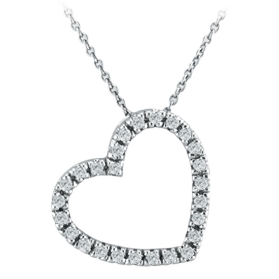 14K White Gold .25ct Diamond Slanted Heart Pendant On Cable Chain Necklace G-H SI1-SI2. Price: $479.04
