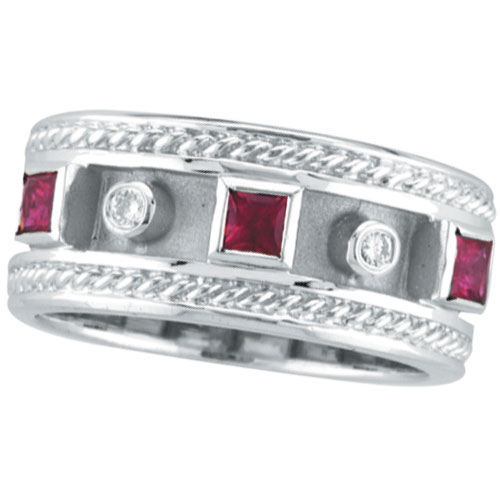 14K White Gold Antique Style Ruby & .06ct Diamond Ring. Price: $1194.24