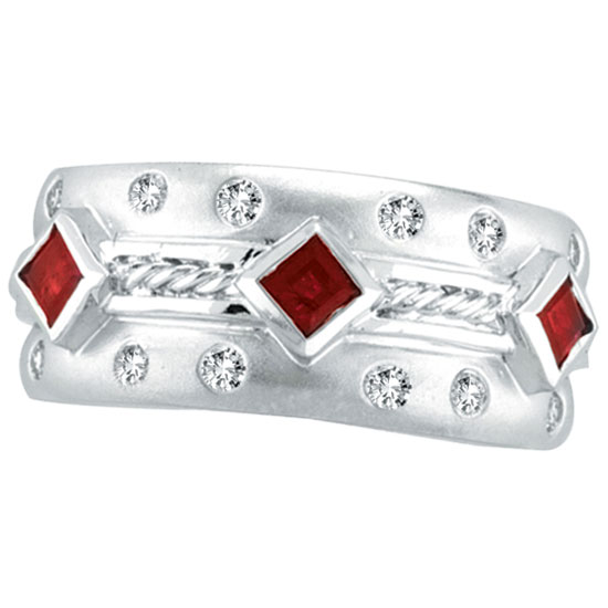 14K White Gold Antique Style Ruby & .22ct Diamond Fashion Ring. Price: $1175.04